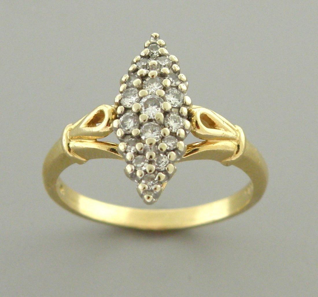 VINTAGE 14K YELLOW GOLD DIAMOND LADIES CLUSTER RING .50