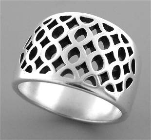 JAMES AVERY STERLING SILVER CUTOUT DOME RING SIZE 9