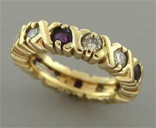 VINTAGE 14K Y/ GOLD DIAMOND AMETHYST RING WEDDING BAND
