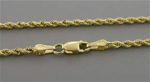 """14K YELLOW GOLD ROPE CHAIN NECKLACE 3mm - 18"""""""