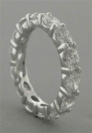 14K W/GOLD DIAMOND OVAL CUT ETERNITY BAND RING 3.35ct