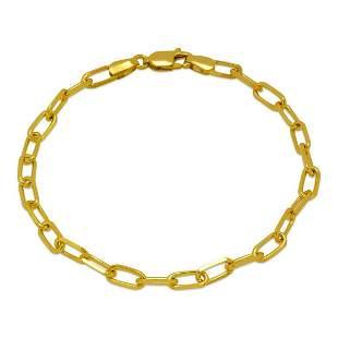 14K YELLOW GOLD OVAL LINK CHAIN BRACELET 4.5mm
