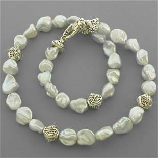 LAGOS 18K GOLD STERLING SILVER KESHI PEARL NECKLACE