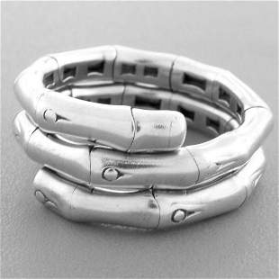 JOHN HARDY STERLING SILVER FLEXIBLE BAMBOO COIL RING