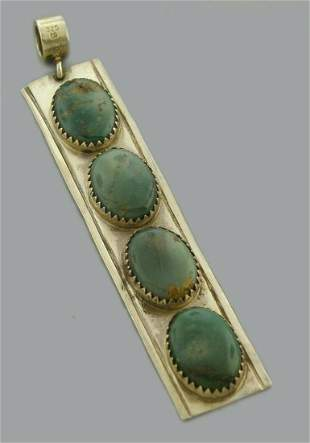 VINTAGE BEAUTIFUL STERLING SILVER TURQUOISE PENDANT