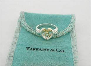 TIFFANY & Co. 18K GOLD STERLING SILVER LADIES BOW HEART