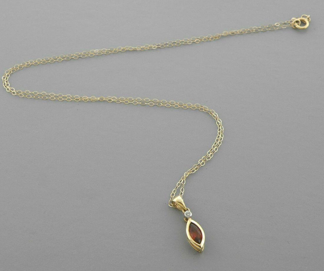 14K YELLOW GOLD MARQUISE SHAPE GARNET DIAMOND NECKLACE
