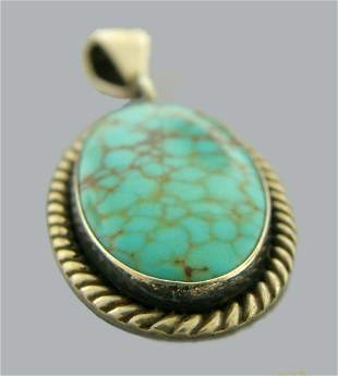 VINTAGE STERLING SILVER SPIDERWEB TURQUOISE PENDANT