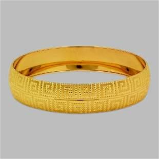 14K YELLOW GOLD DIAMOND CUT BANGLE BRACELET GREEK KEY