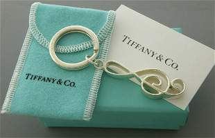 NEW TIFFANY & CO. SILVER MUSIC NOTE G-CLEF KEYRING BOX