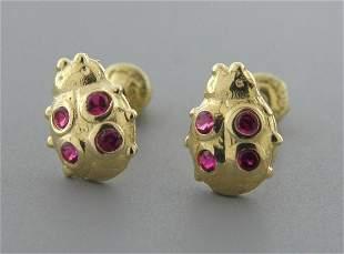 NEW 14K GOLD CZ BABY GIRLS STUD RED LADYBUG EARRINGS