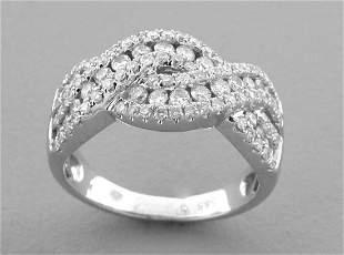 14K WHITE GOLD LADIES ROUND CUT TWIST DIAMOND RING 1ct
