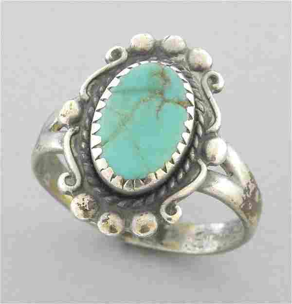 VINTAGE BELL TRADING CO. STERLING SILVER TURQUOISE RING