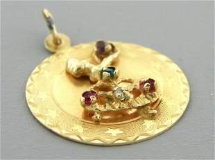 VINTAGE 14K GOLD BALLERINA DIAMOND EMERALD RUBY PENDANT