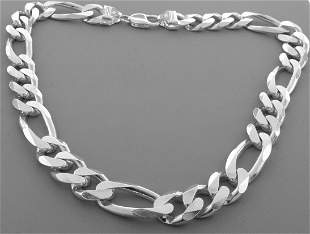 """STERLING SILVER FIGARO HEAVY SOLID NECKLACE 13mm - 22"""""""