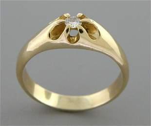 14K Y/ GOLD MEN'S SIGNET DIAMOND BELCHER RING SIZE 12