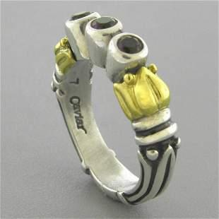 LAGOS CAVIAR 18K GOLD STERLING SILVER AMETHYST RING