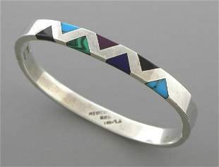 VINTAGE TAXCO STERLING SILVER TURQUOISE ONYX BANGLE