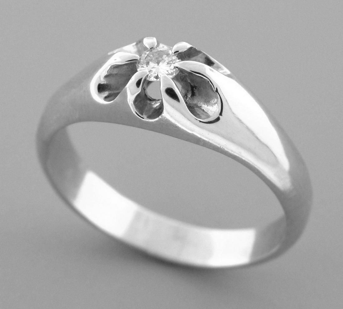 14K WHITE GOLD MEN'S SIGNET DIAMOND BELCHER RING 10