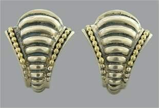 VINTAGE LAGOS CAVIAR 18K GOLD SILVER BEE EARRINGS