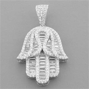NEW STERLING SILVER LARGE HAMSA PENDANT SET WITH CZ
