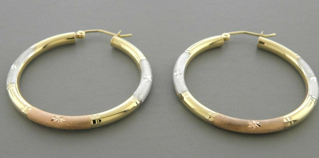 14K GOLD ROUND HOOP LADIES EARRINGS 3mm LARGE 45mm