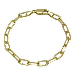 14K YELLOW GOLD OVAL LINK CHAIN BRACELET 3.5mm