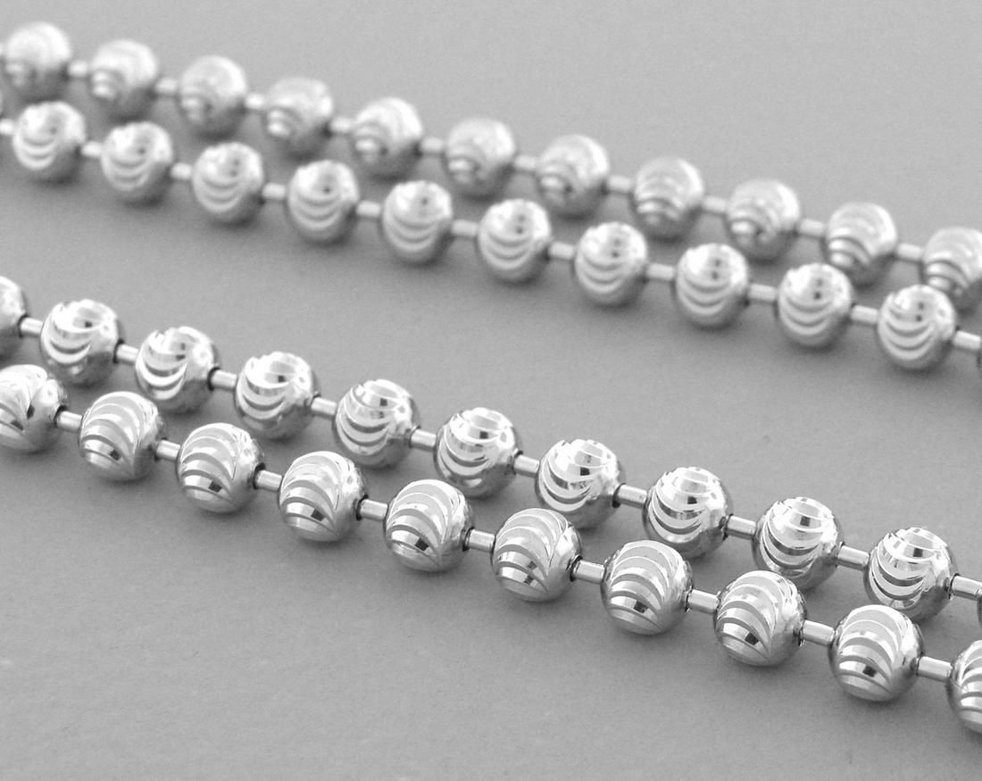 BALL MOON CHAIN STERLING SILVER ITALIAN NECKLACE 4mm