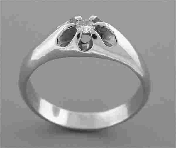 14K W/ GOLD MEN\'S SIGNET DIAMOND BELCHER RING ANY SIZE