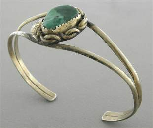 VINTAGE NAVAJO STERLING SILVER TURQUOISE CUFF BANGLE