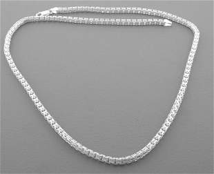"""DOUBLE BAR CHAIN STERLING SILVER NECKLACE MENS 4mm 22"""""""