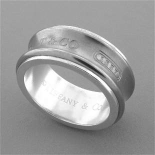 TIFFANY & Co. 1837 STERLING SILVER TITANIUM BAND RING