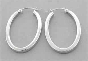 NEW 14K WHITE GOLD LADIES OVAL SQUARE HOOP EARRINGS