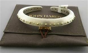 JOHN HARDY 18K GOLD STERLING SILVER DOT HINGED CUFF
