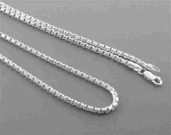 "DIAMOND CUT BOX CHAIN STERLING SILVER NECKLACE 30"""