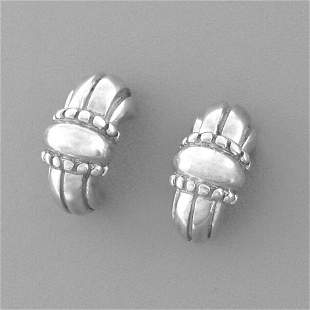 JAMES AVERY STERLING SILVER THATCHED HUGGIE EARRINGS