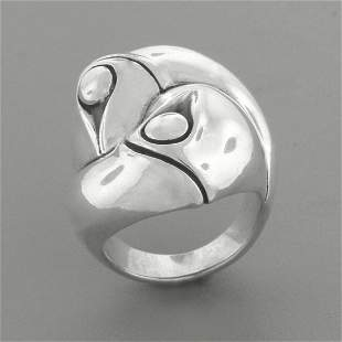 JOHN HARDY STERLING SILVER BAMBOO LARGE DOMED RING