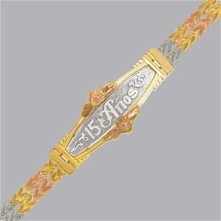 14K TRI COLOR GOLD 15 ANOS BRACELET FANCY DIAMOND CUT