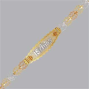 NEW 14K TRI COLOR GOLD 15 ANOS BRACELET FANCY