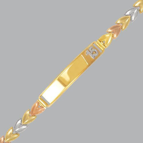14K TRI COLOR GOLD 15 ANOS ID BRACELET FANCY