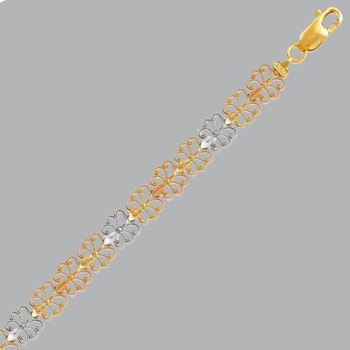 NEW 14K TRI COLOR GOLD LADIES FILIGREE BRACELET