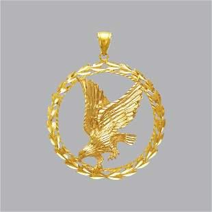 14K YELLOW GOLD FANCY LARGE WREATH EAGLE PENDANT