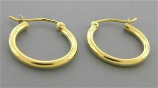 NEW 14K YELLOW GOLD ROUND HOOP TUBE EARRINGS 2mm