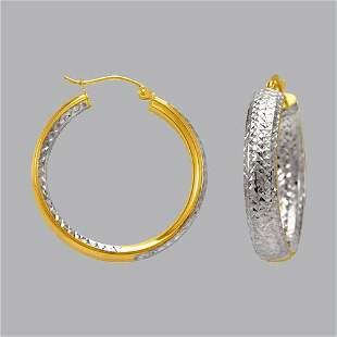 14K TWO TONE GOLD OVAL HOOP TUBE EARRINGS 6mm