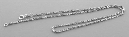 NEW 14K WHITE GOLD TWISTED BOX CHAIN NECKLACE
