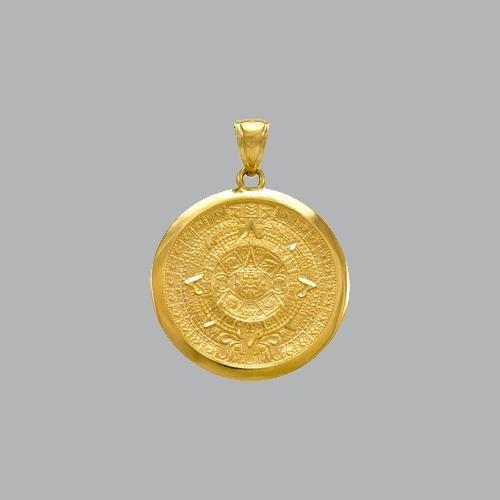 NEW 14K YELLOW GOLD FANCY ROUND AZTEC PENDANT