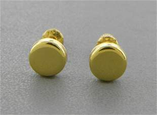 14K YELLOW GOLD LADIES GIRLS STUD EARRINGS SCREW BACK