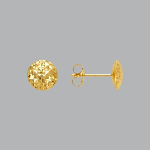 14K YELLOW GOLD DIAMOND CUT EARRINGS D/ CUT BALL