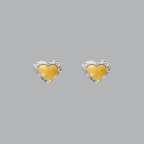 14K TWO TONE GOLD LADIES DIAMOND CUT EARRINGS HEART