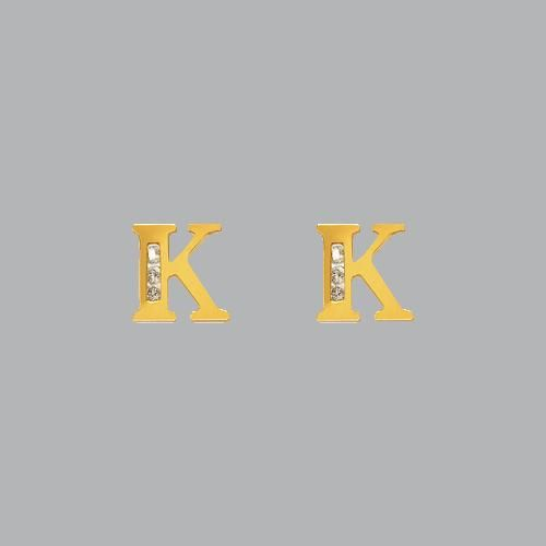 14K YELLOW GOLD LADIES GIRLS INITIAL STUD CZ EARRINGS K